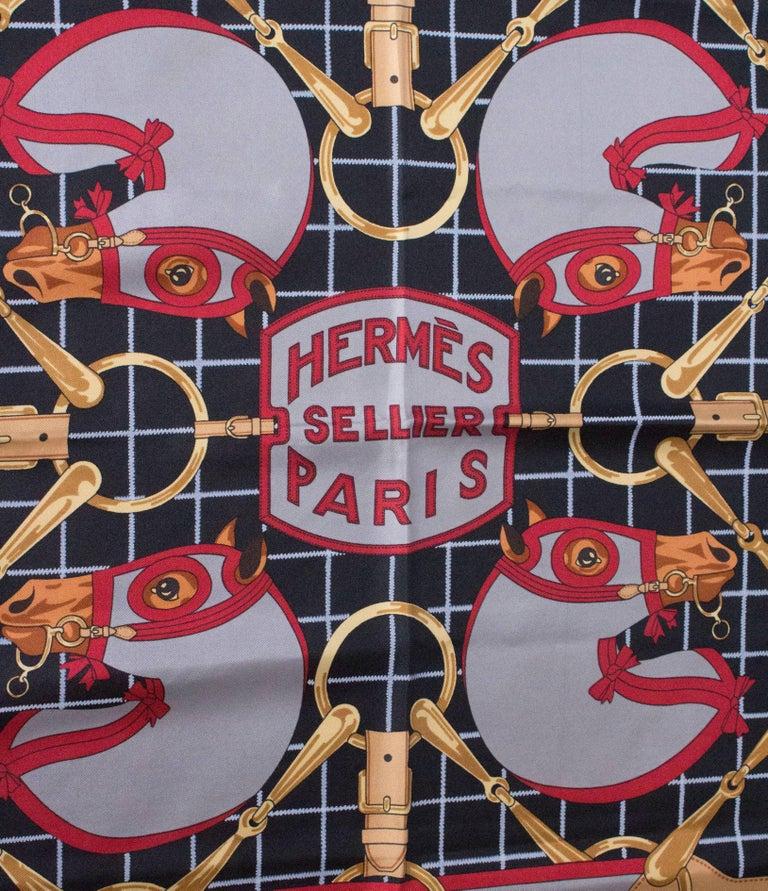 Gray Hermes Vintage Silk Scarf For Sale