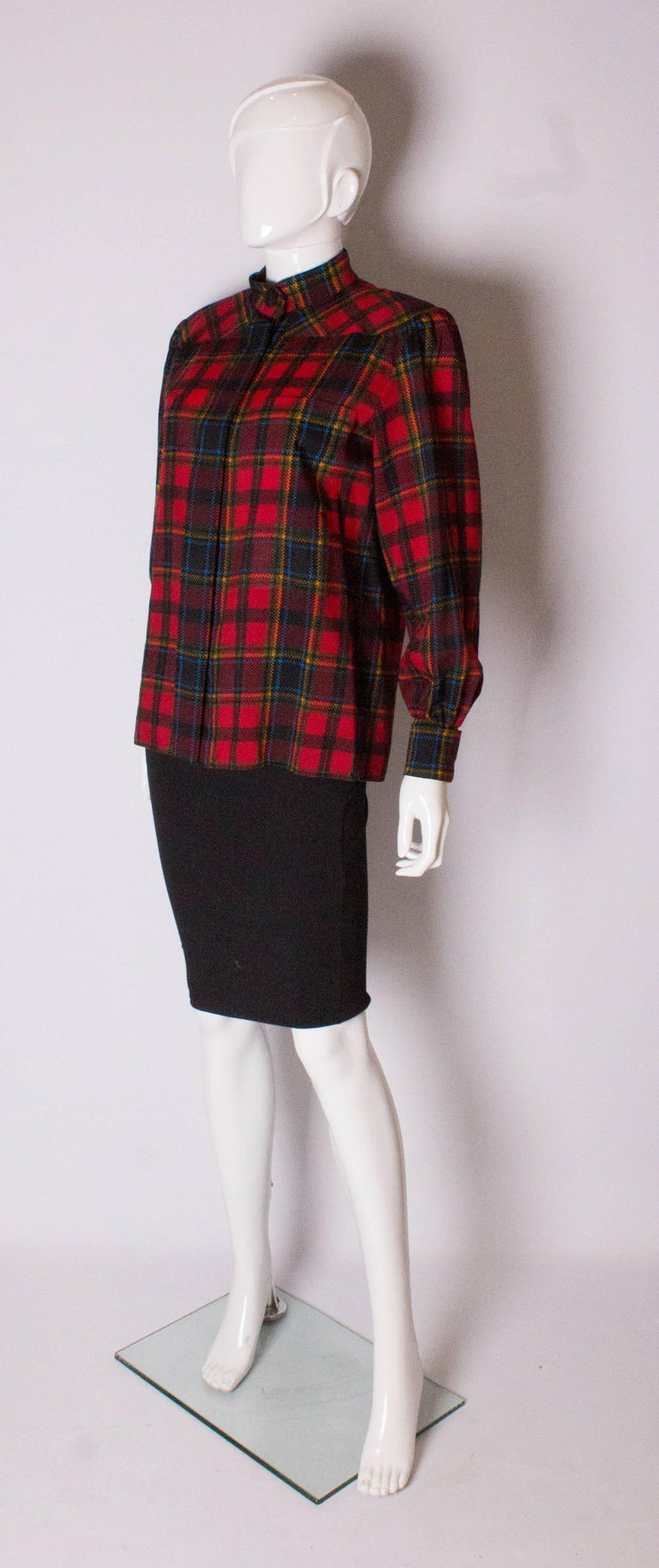 Yves Saint Laurent Red Check Blouse In Good Condition For Sale In London, GB