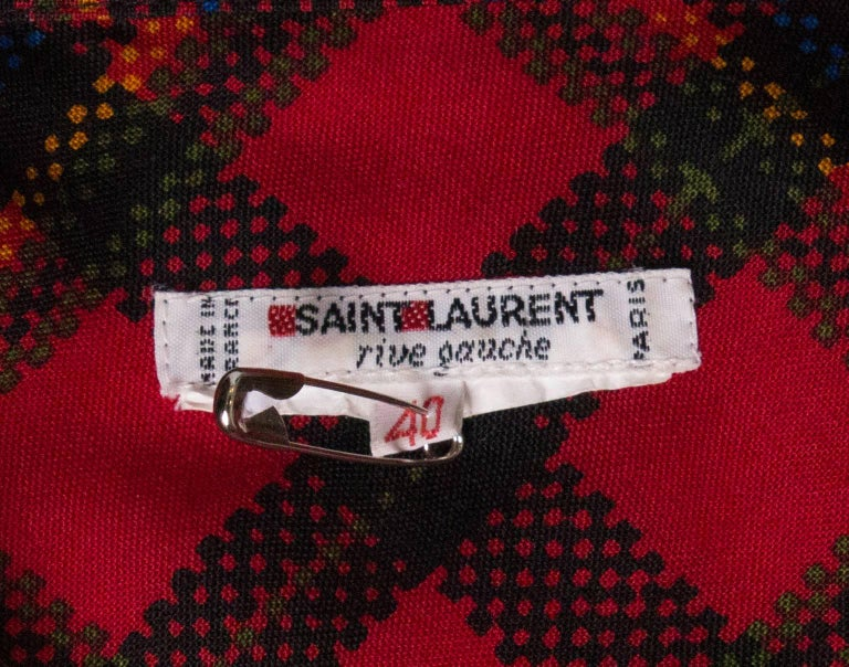 Yves Saint Laurent Red Check Blouse For Sale 3