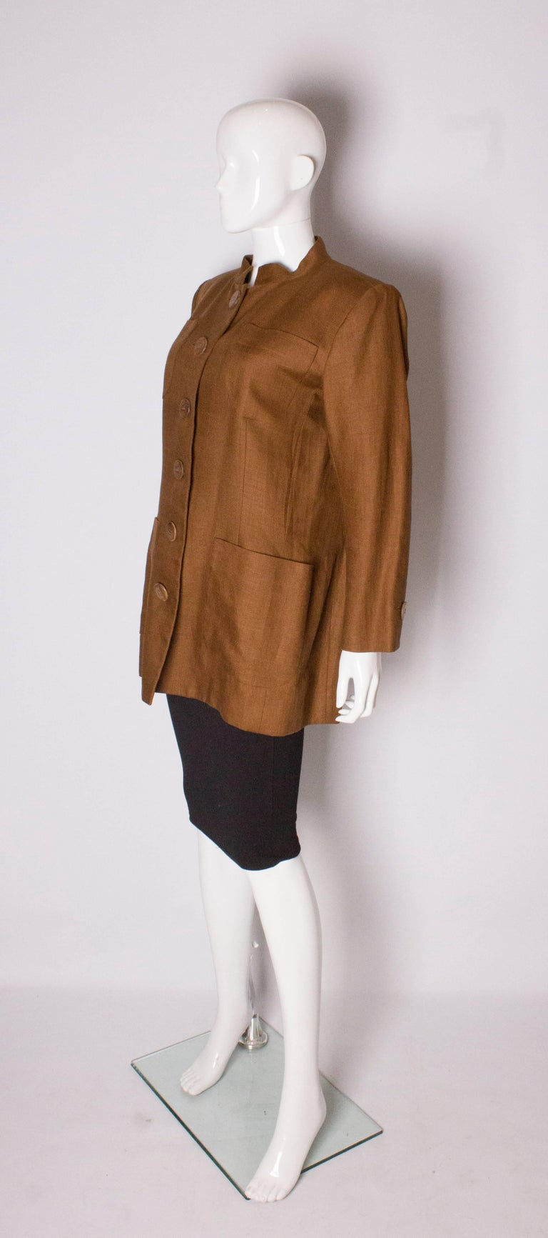 Brown Vintage Yves Saint Laurent Rive Gauche Linen Jacket For Sale