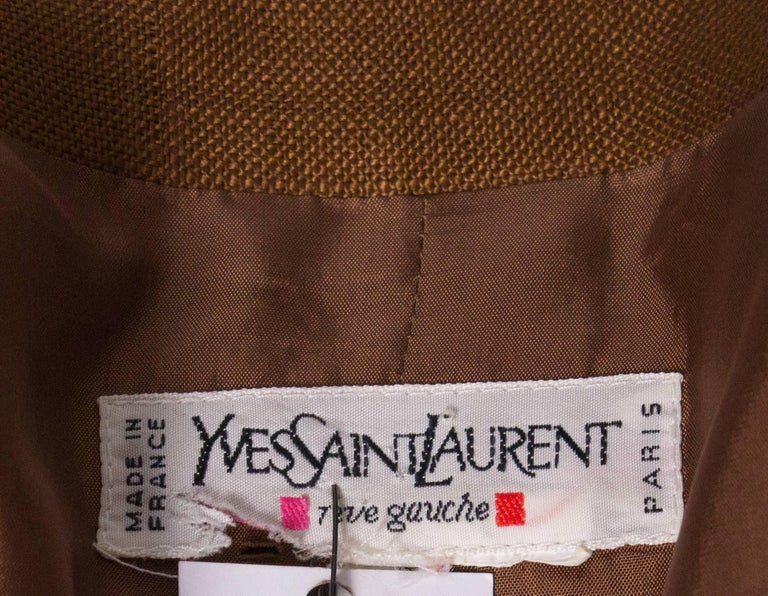 Vintage Yves Saint Laurent Rive Gauche Linen Jacket For Sale 2