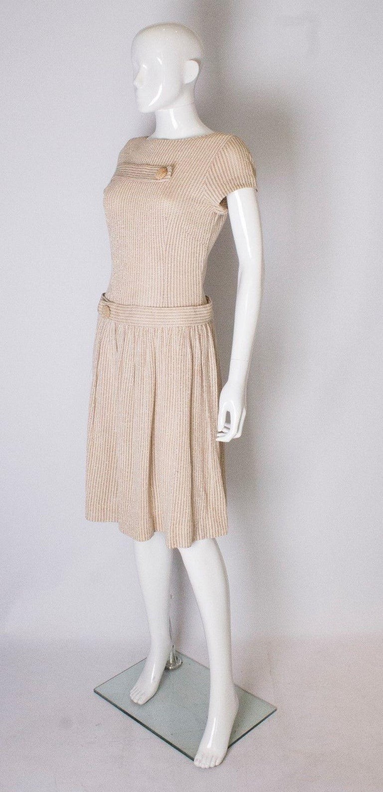 Beige A vintage 1950s cream knitted drop waist glitter thread dress size S Small  For Sale