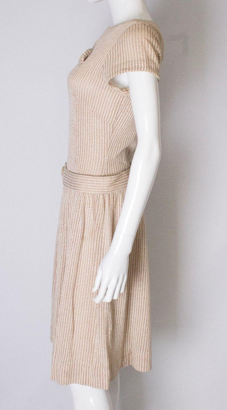 Women's A vintage 1950s cream knitted drop waist glitter thread dress size S Small  For Sale