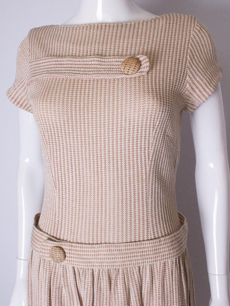 A vintage 1950s cream knitted drop waist glitter thread dress size S Small  For Sale 1