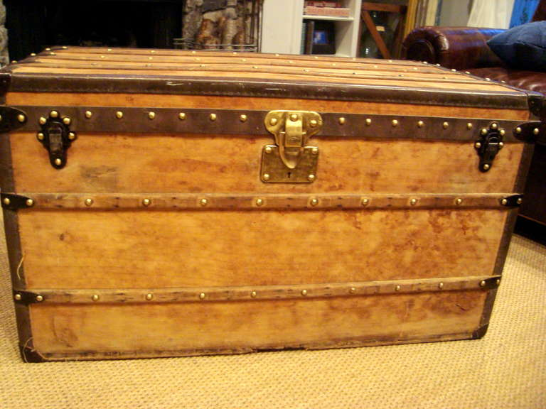 antique louis vuitton wooden steamer trunk coffee table circa 1910 at