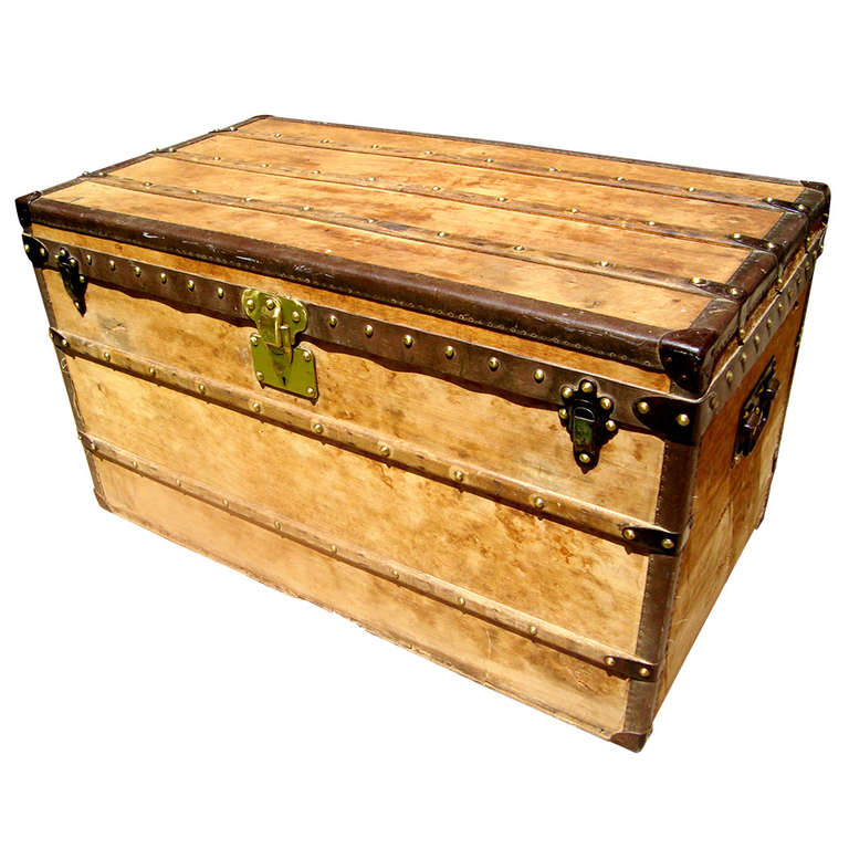 Antique louis vuitton wooden steamer trunk coffee table circa 1910 at 1stdibs Trunks coffee tables