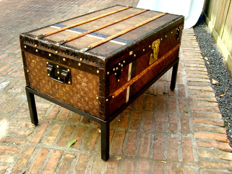 Antique Louis Vuitton Cabin trunk Coffee table Steamer chest paris ...
