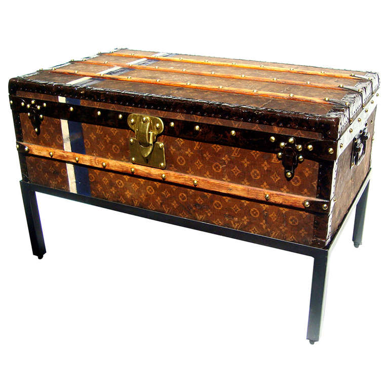 Antique Louis Vuitton Cabin Trunk Coffee Table Steamer Chest Paris 1907 At 1stdibs