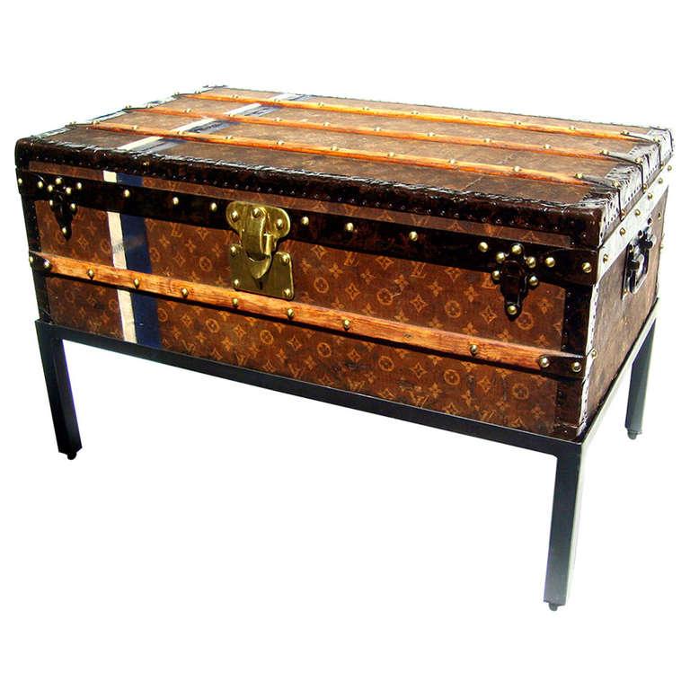Antique Louis Vuitton Cabin Trunk Coffee Table Steamer Chest Paris 1907