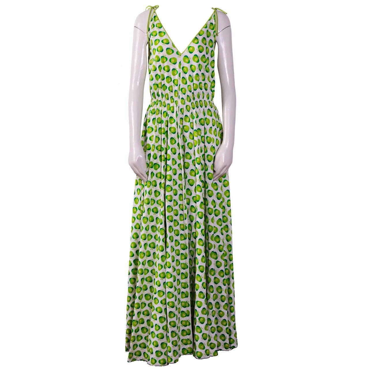 Miss dior vintage 70 39 s green apple print cotton dress at for Apple green dress shirt