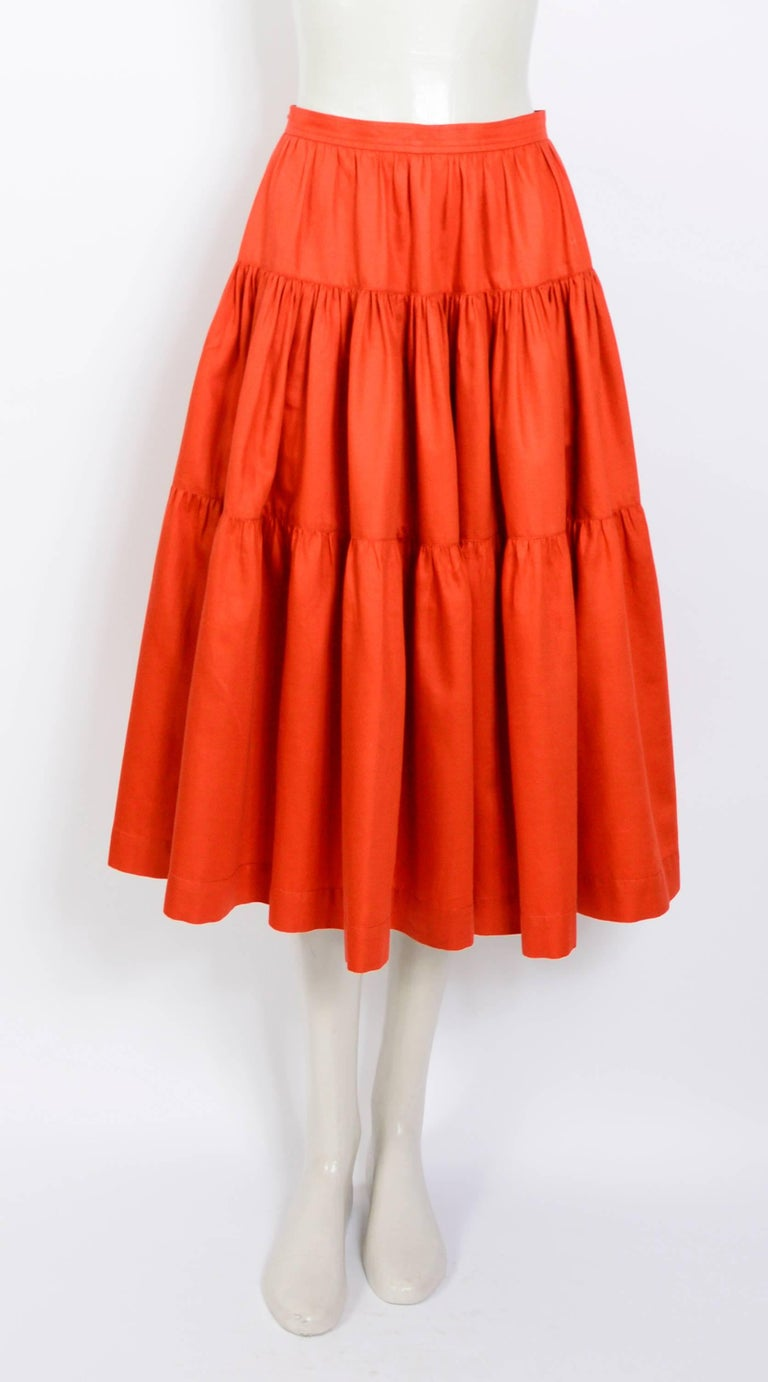 Yves Saint Laurent Vintage 1970s Peasant Skirt Top and Belt In Excellent Condition For Sale In Antwerp, BE