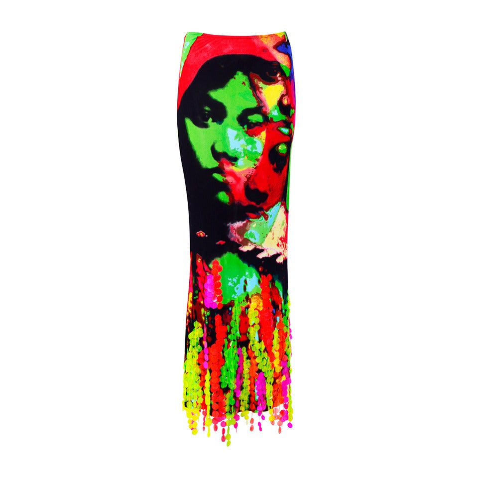Iconic Pop Art Face Print Skirt By JEAN PAUL GAULTIER 1