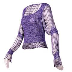 1970s Loris Azzaro Purple Lurex Crochet Top with Metallic Chain