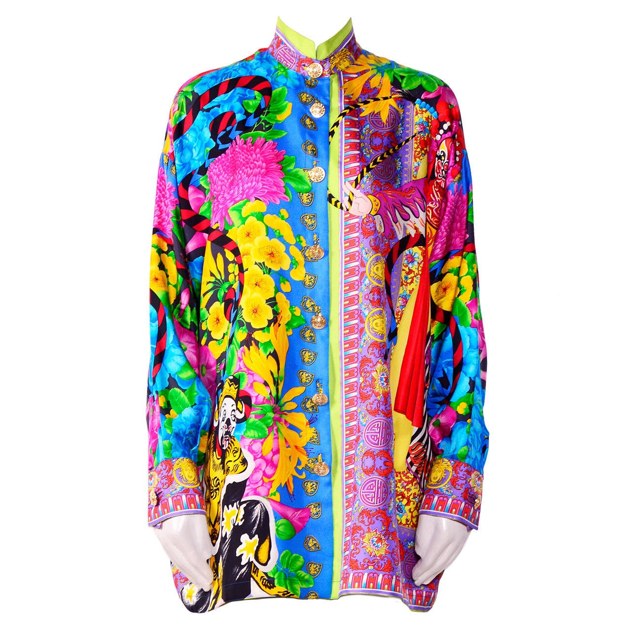 Vintage Gianni Versace Couture / Atelier Silk Print Oversized Blouse 1