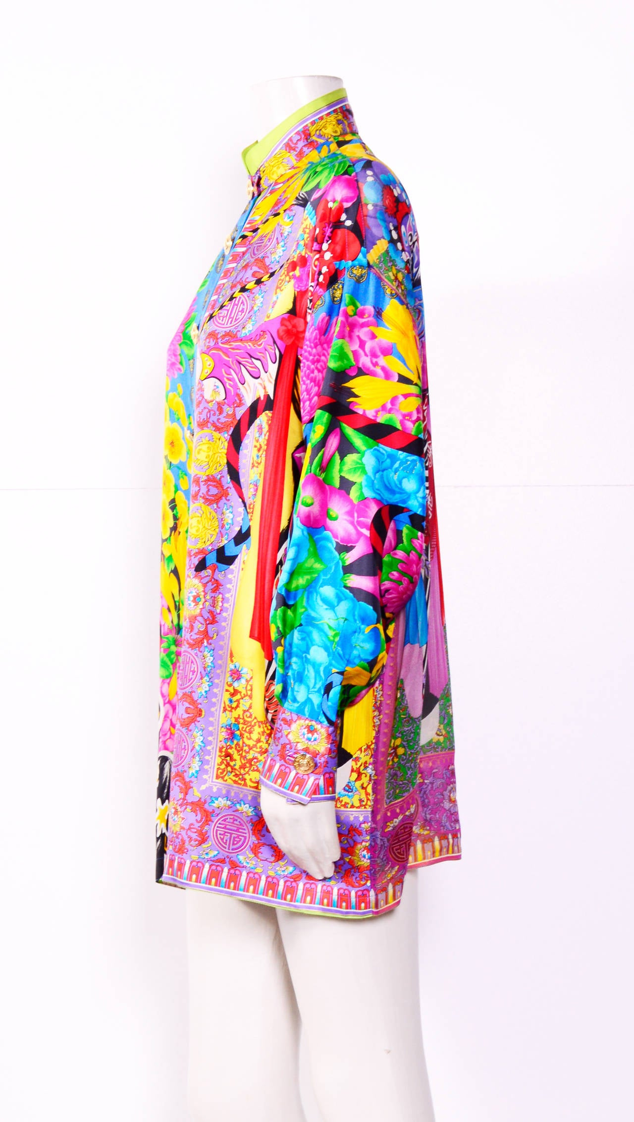 Vintage Gianni Versace Couture / Atelier Silk Print Oversized Blouse 2