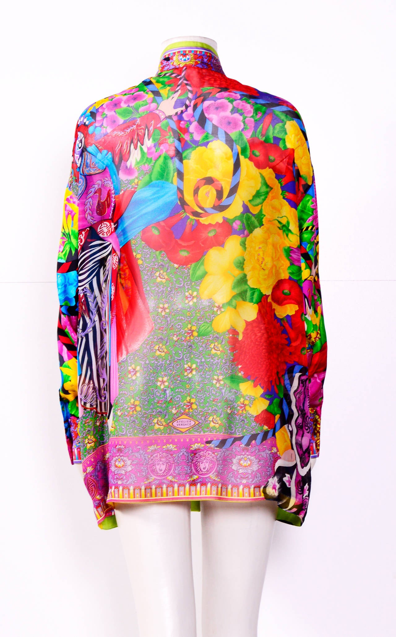 Vintage Gianni Versace Couture / Atelier Silk Print Oversized Blouse 3