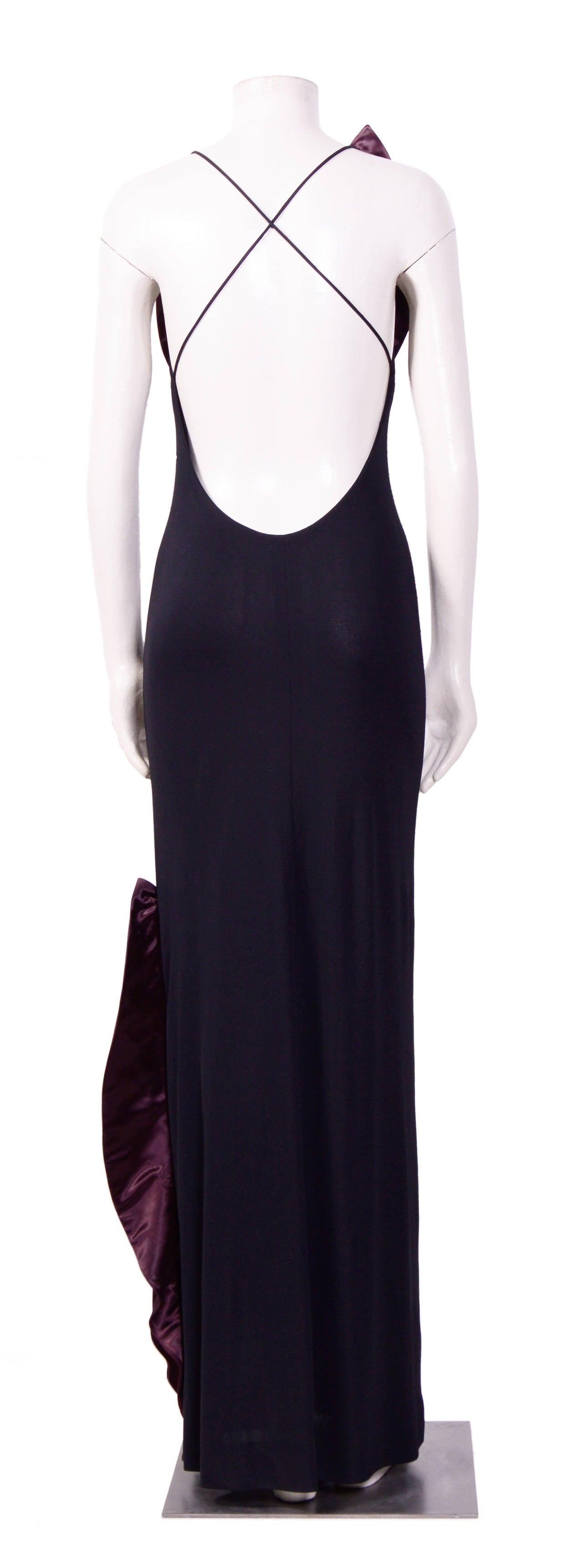 Black Loris Azzaro 1970's unique jersey long dress For Sale