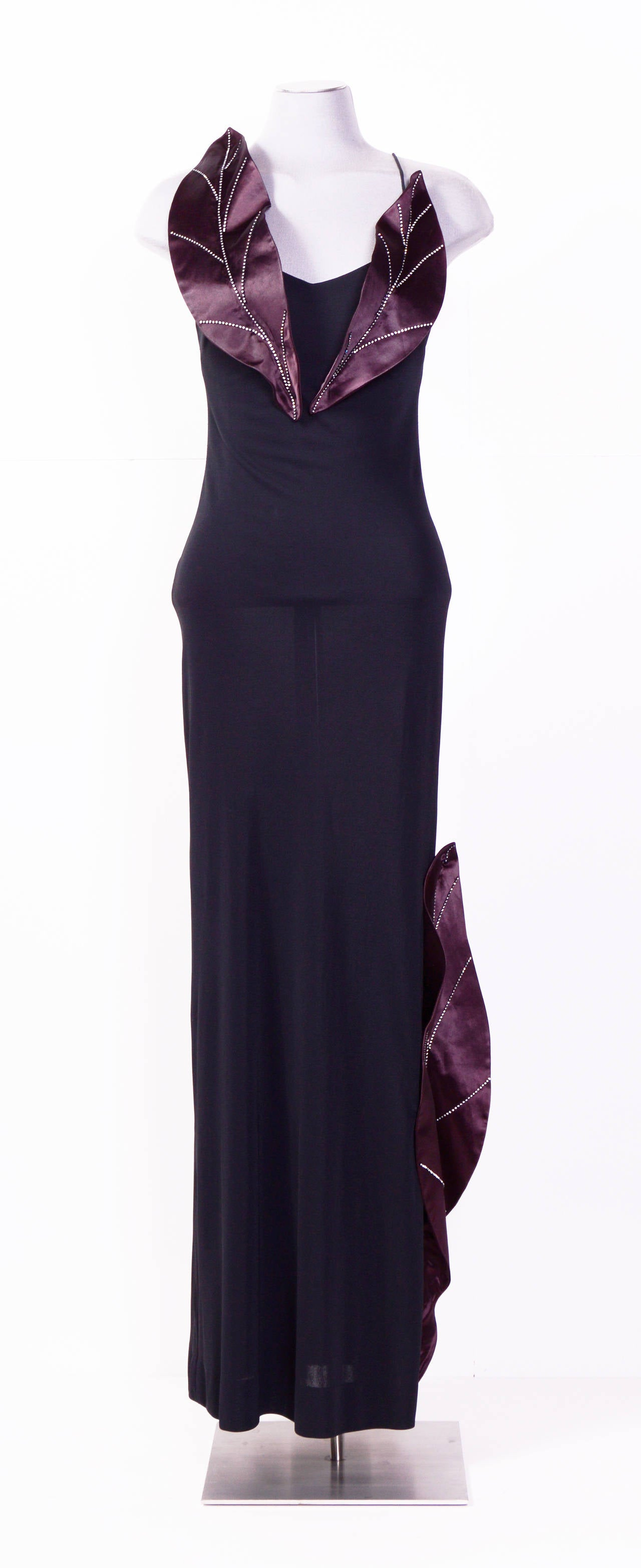 Loris Azzaro 1970's unique jersey long dress In Excellent Condition For Sale In Antwerp, BE
