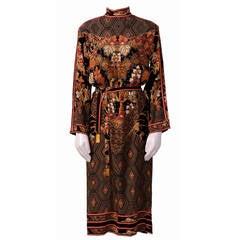 Vintage LEONARD Crepe De Chine Signed Oriental Print Dress
