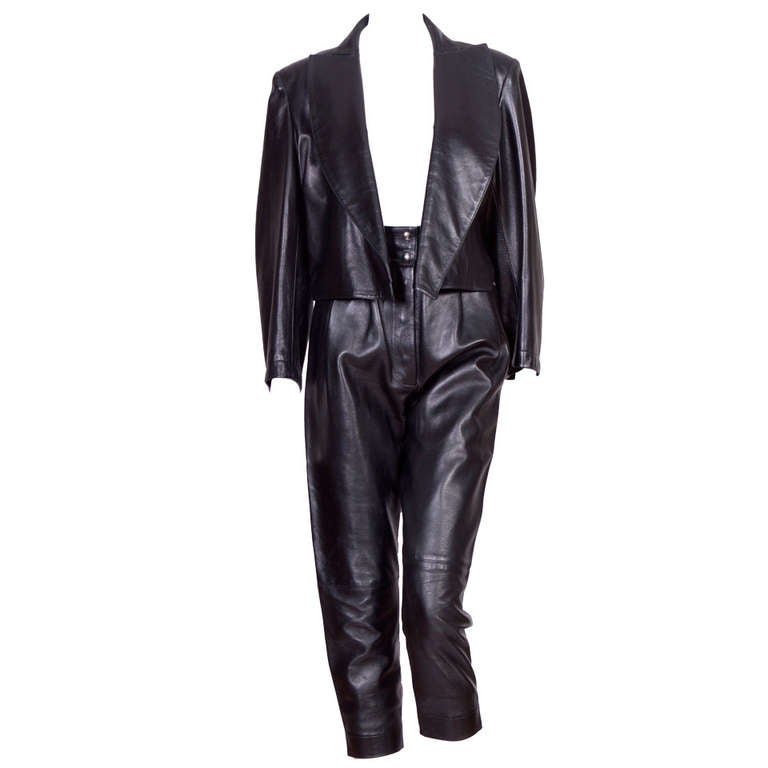 Vintage 80's Alaia Leather set For Sale at 1stdibs