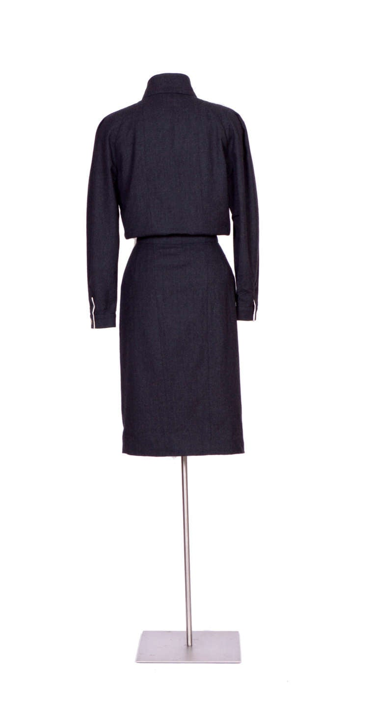 Vintage 80's Charcoal Wool CHANEL Dress 6
