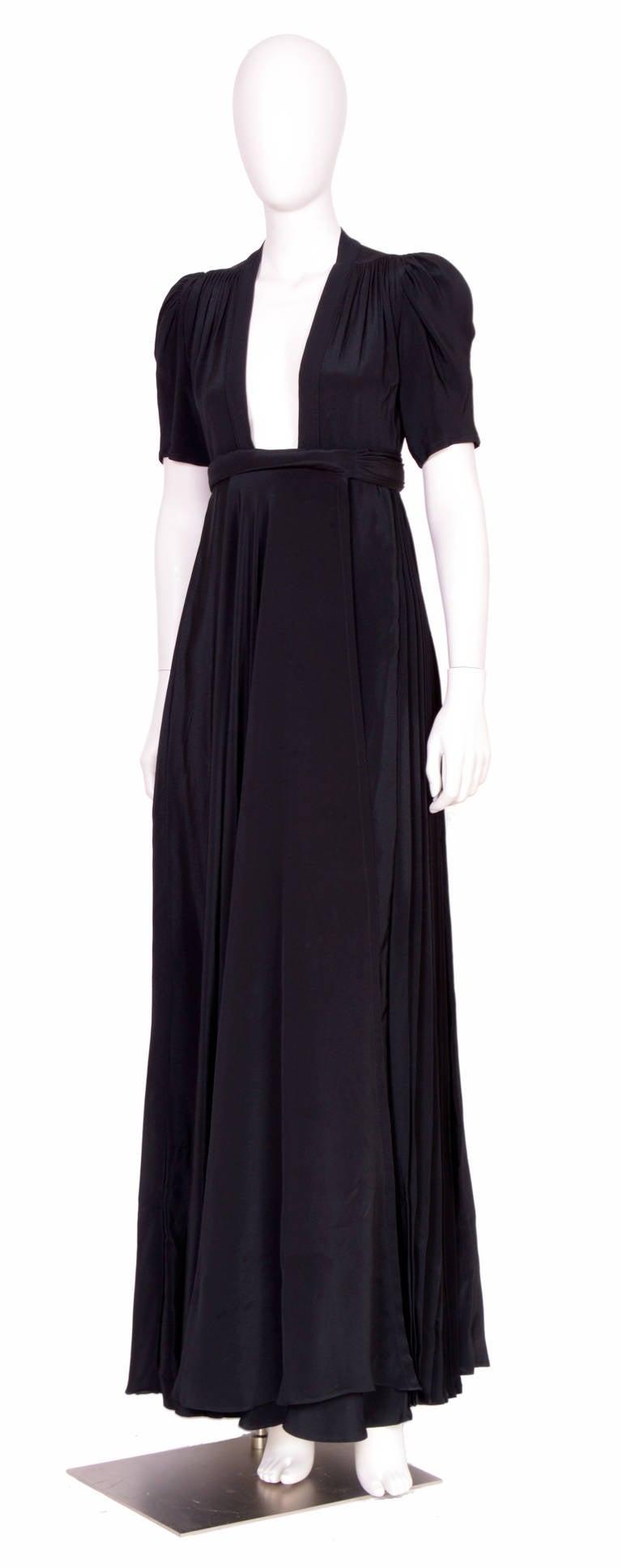 Vintage OSSIE CLARK for QUORUM Black Wrap Dress 2