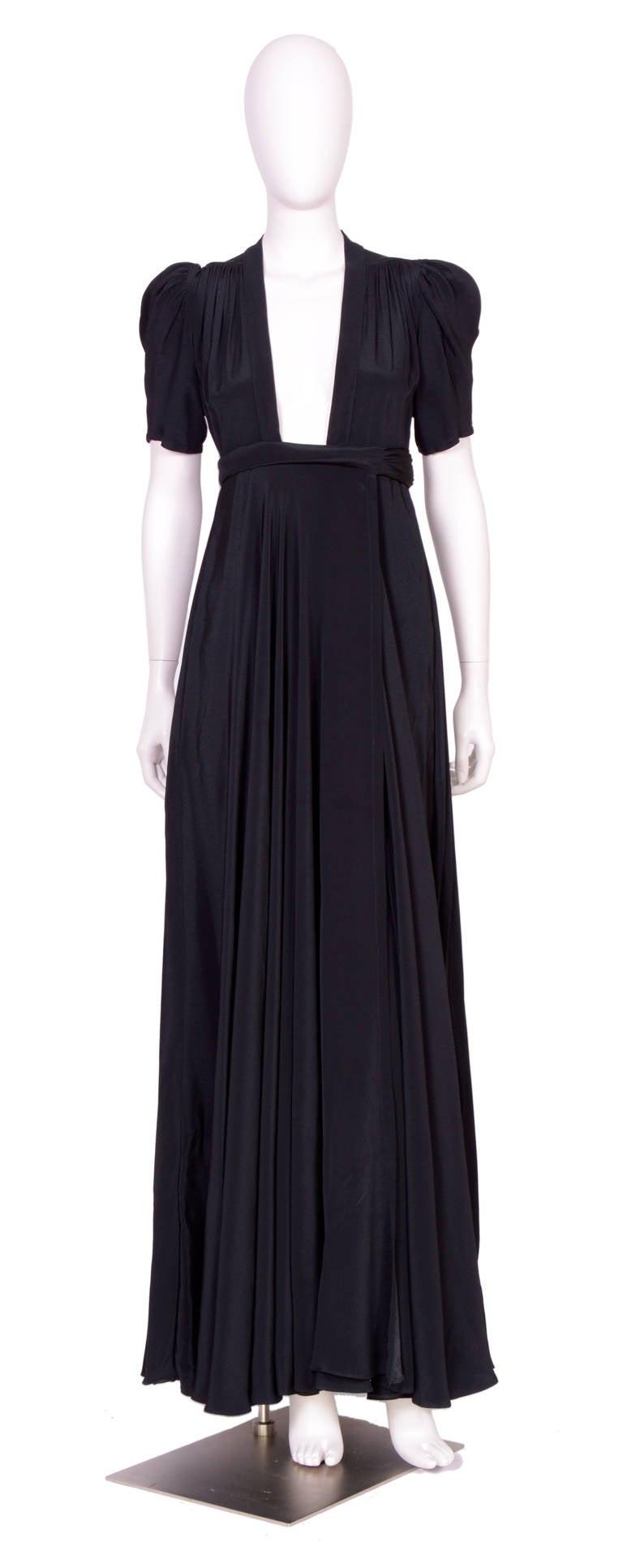 Vintage OSSIE CLARK for QUORUM Black Wrap Dress 4