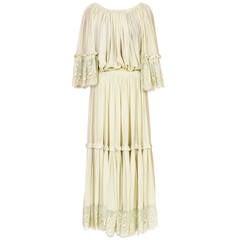 70's LANVIN COUTURE silk chiffon & chantilly lace boho set