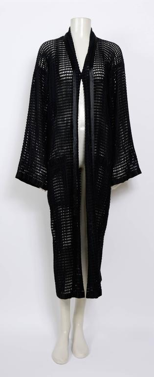 Black ISSEY MIYAKE 80's Vintage Woven Pleats Please Long Coat For Sale
