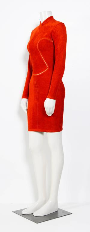 Iconic Stunning 90's Rust/Red sexy stretch dress by ALAIA.