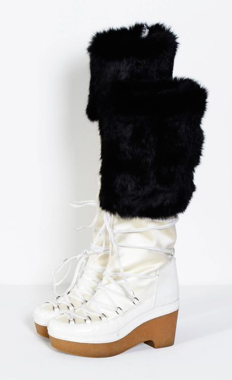 GIVENCHY / Alexander McQueen White & Black Snow-Boots 7