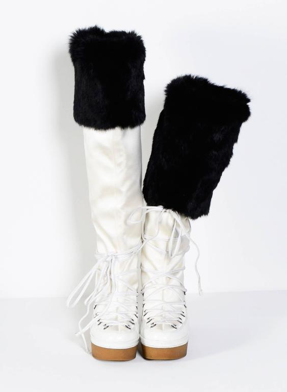 Givenchy Alexander Mcqueen White And Black Snow Boots At