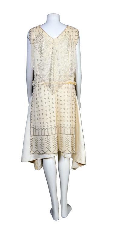 Women's Rare Vintage 1920's Art Deco Era Assuit Cream Dress  For Sale