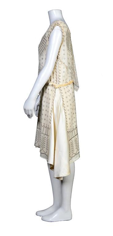 Beige Rare Vintage 1920's Art Deco Era Assuit Cream Dress  For Sale