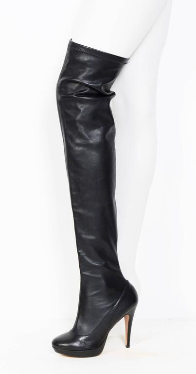 Measurements for the Balmain unworn thigh high leather stretch boots