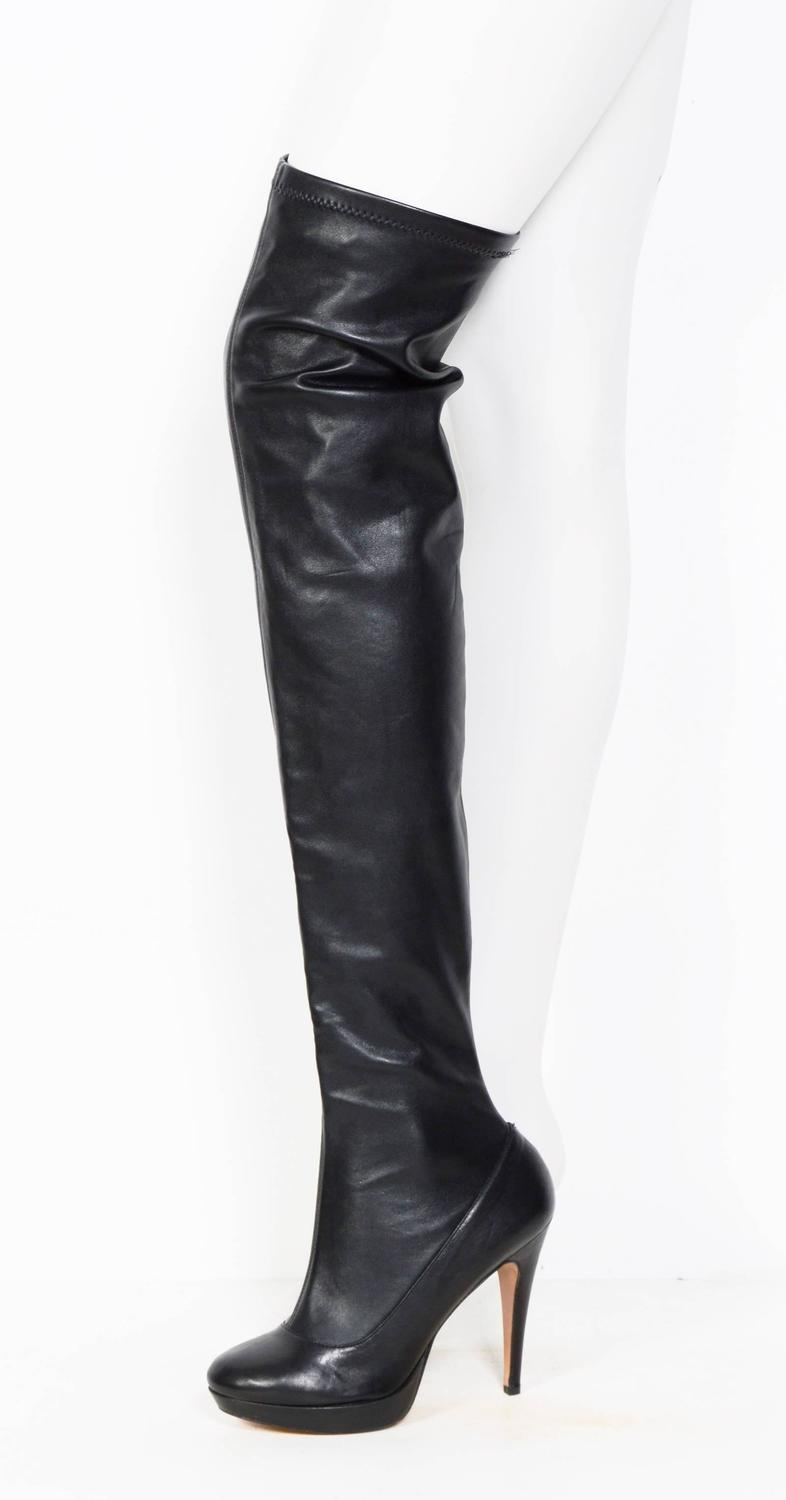 balmain black stretch leather thigh high boots for sale at