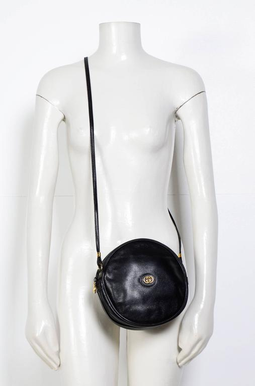 Gucci 70's Vintage Black Leather Canteen Crossbody Bag 2