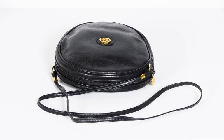Gucci 70's Vintage Black Leather Canteen Crossbody Bag 7