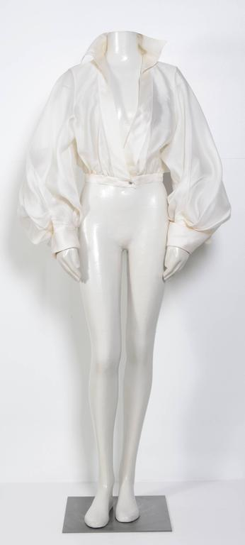 CLAUDE MONTANA VIntage Signature White Silk Blouse 2
