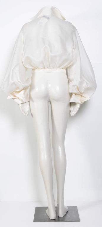 CLAUDE MONTANA VIntage Signature White Silk Blouse 5