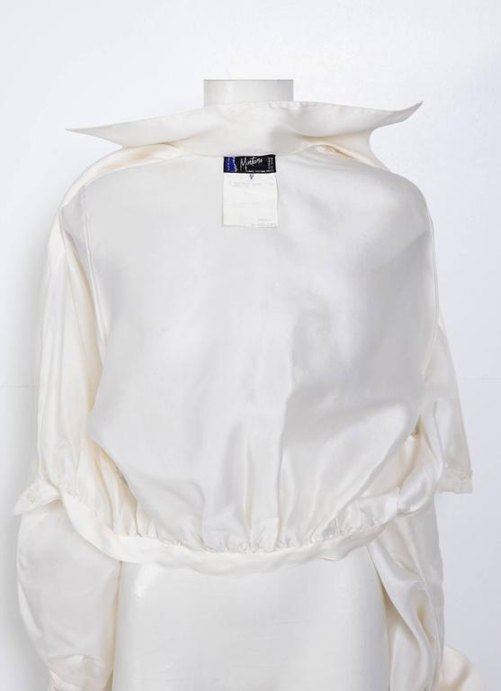 CLAUDE MONTANA VIntage Signature White Silk Blouse 6