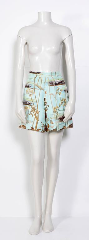 Hermes Vintage 80's Signed Race-Car Print Silk Shorts 2