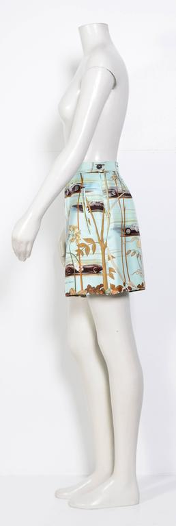 Hermes Vintage 80's Signed Race-Car Print Silk Shorts 3