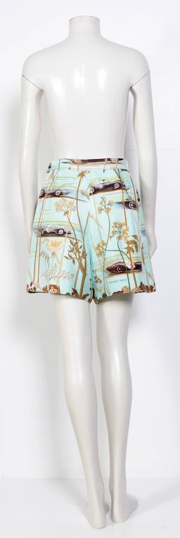 Hermes Vintage 80's Signed Race-Car Print Silk Shorts 4