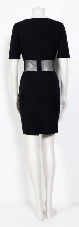 1990s CLAUDE MONTANA Black Mesh Panel Dress In Excellent Condition For Sale In Antwerp, BE