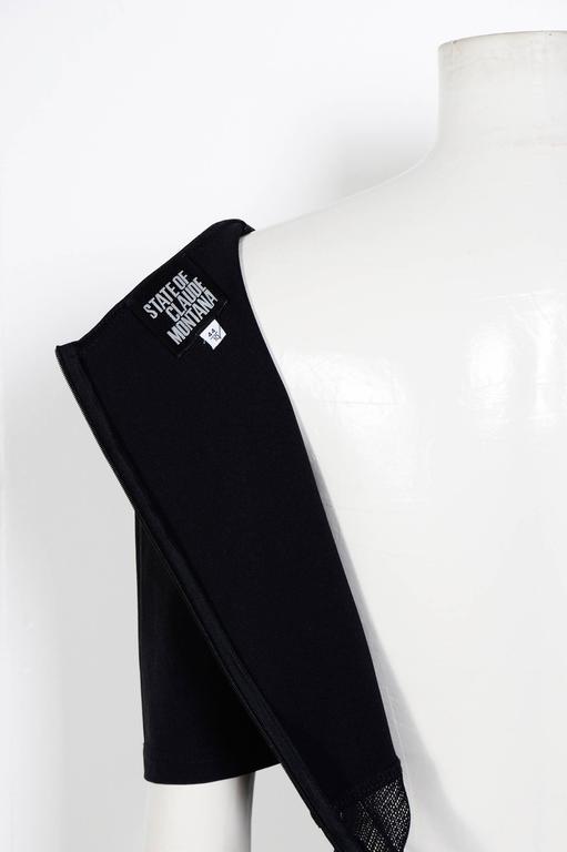 1990s CLAUDE MONTANA Black Mesh Panel Dress 4