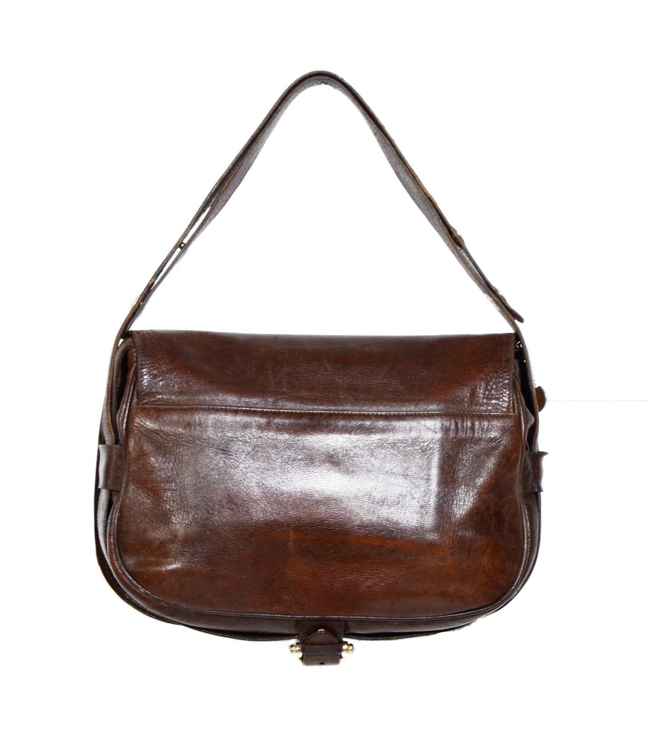 CELINE 70's Chocolate Brown Leather Schoulderbag For Sale ...
