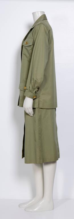 1970s cotton khaki safari jacket & jupe culotte by Celine.