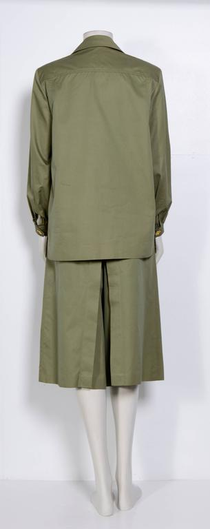 Gray Celine Vintage 70's Khaki Safari Jacket & Jupe Culotte For Sale