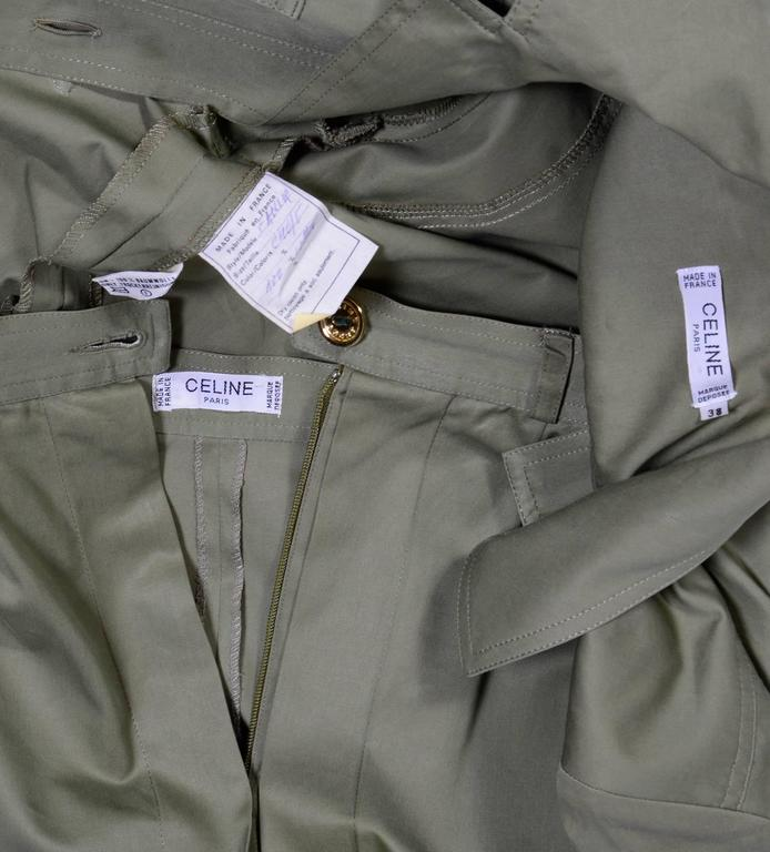 Women's Celine Vintage 70's Khaki Safari Jacket & Jupe Culotte For Sale